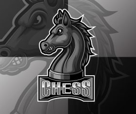 Chess sport logo design vector