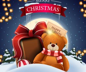 Childrens toys Christmas promotion flyer vector