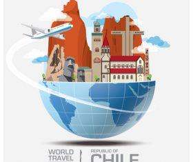 Chile famous tourist attractions concept vector