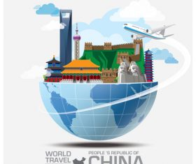 China famous tourist attractions concept vector