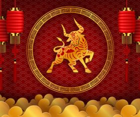 Chinese 2021 Year of the Ox greeting card vector