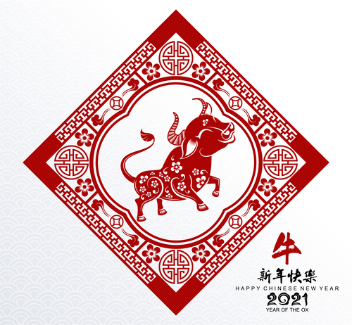 Chinese Art 2021 Ox Year Paper Cut Vector