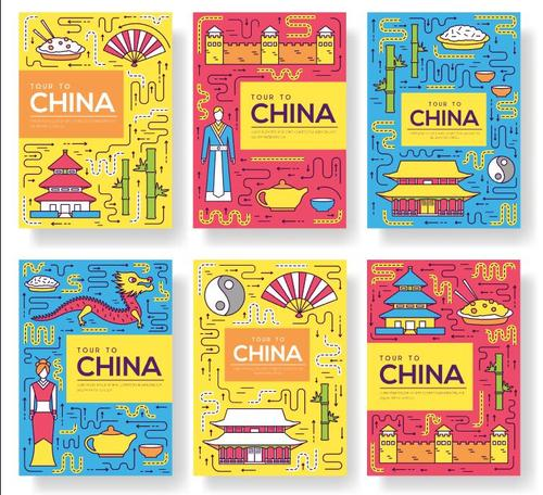 Chinese Food and Tourist Attractions Flyer Vector