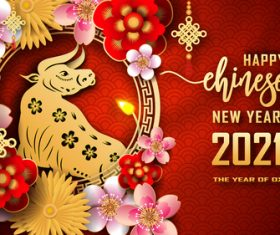 Chinese art new year greeting card vector