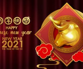 Chinese new year 2021 symbol bull vector