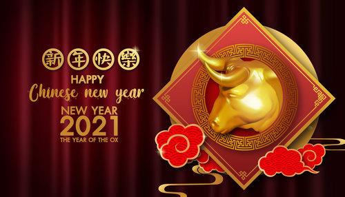 Chinese new year 2021 symbol bull vector