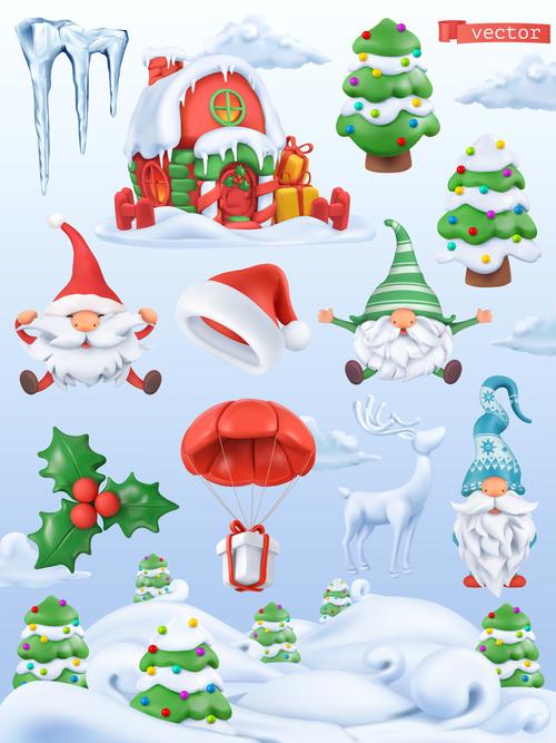 Christmas 3d icon illustration vector