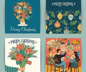 Christmas and happy new year illustrations in trendy retro style vector