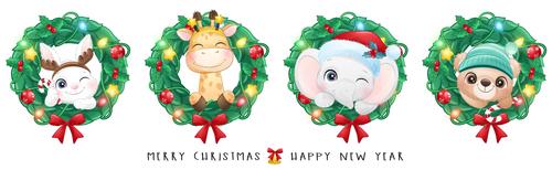 Christmas animal banner cartoon vector