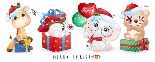 Christmas animals and gifts vector