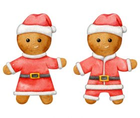 Christmas baking man shaped gingerbread flat vector
