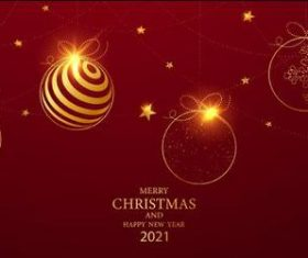Christmas balls decoration 2021 Christmas card vector