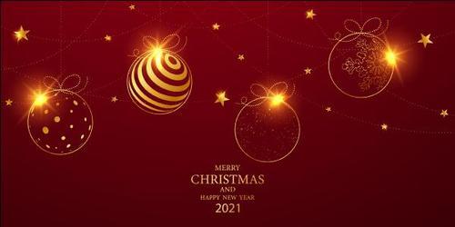 Christmas balls decoration 2021 Christmas card vector