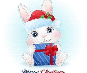 Christmas bunny cartoon vector