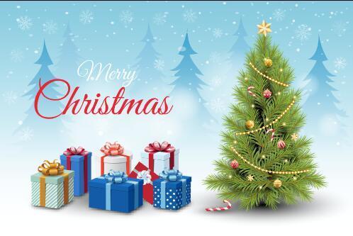 Christmas card christmas tree and christmas gift background vector