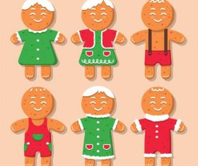 Christmas cute gingerbread character flat vector