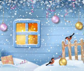 Christmas decoration beautiful greeting card vector