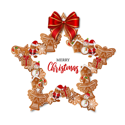 Christmas decoration gingerbreads making vector