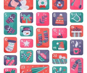 Christmas elements hand drawn calendar vector