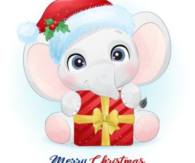 Christmas elephant cartoon vector