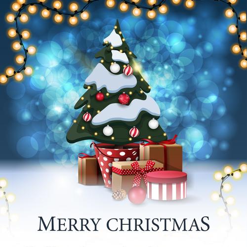 Christmas gift and Christmas tree promotional flyer vector