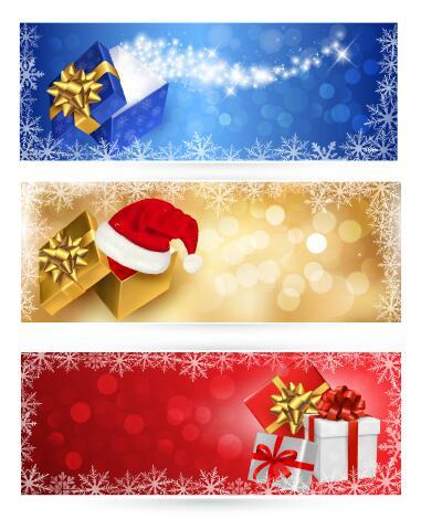 Christmas gift and christmas hat banner vector