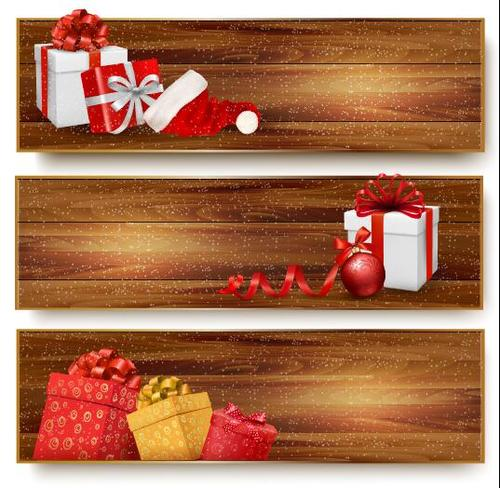 Christmas gift banner vector on brown wooden board background