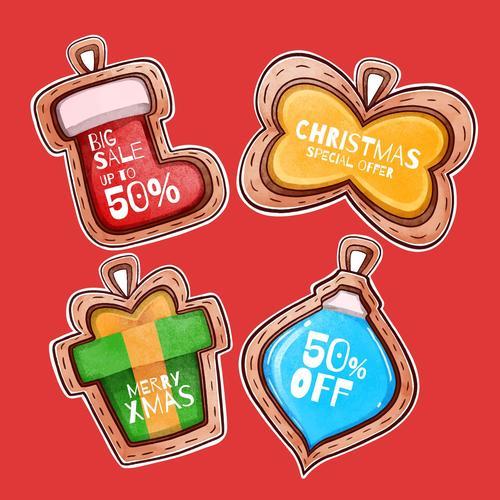 Christmas gift tag vector