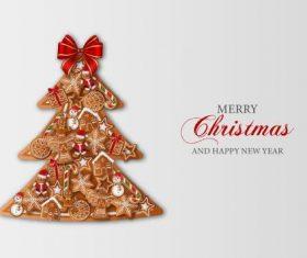 Christmas gingerbread christmas tree vector
