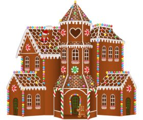 Christmas gingerbreads castle vector