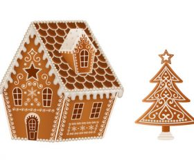 Christmas gingerbreads cottage and christmas tree vector