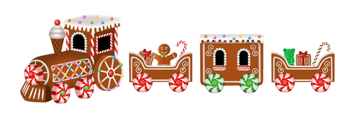 Christmas gingerbreads little train vector