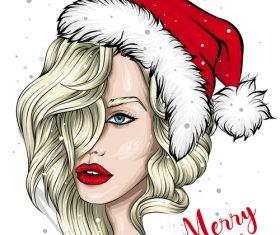 Christmas girl portrait vector