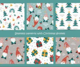 Christmas gnomes seamless pattern vector