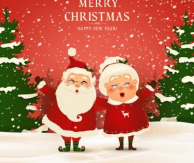 Christmas illustration grandpa and grandma wearing christmas suit vector