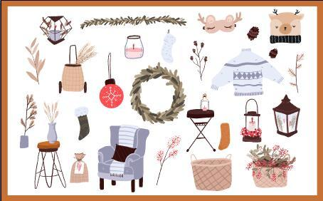 Christmas interior decoration set vector