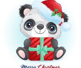 Christmas panda cartoon vector