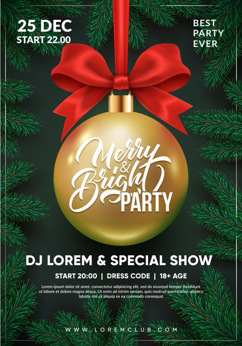 Christmas party flyer design 3d christmas ball with red bow