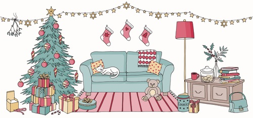 Christmas room hand drawn vector banners