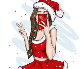 Christmas selfie girl vector