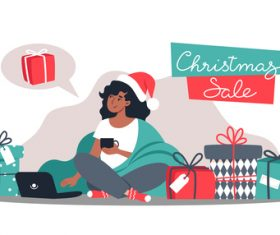 Christmas shopping girl illustration vector