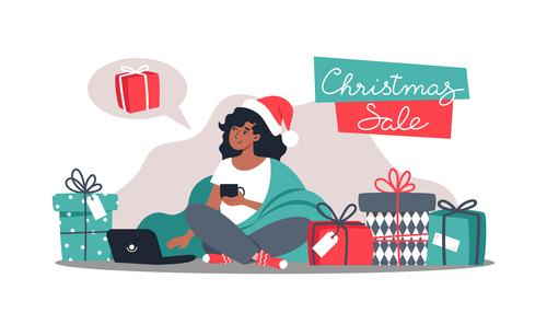 Christmas shopping girl illustration vector