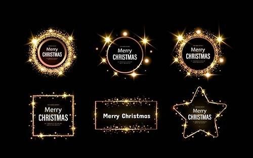 Christmas themed frame set vector