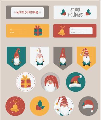 Christmas themed with label vector