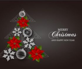 Christmas tree card vector on black background