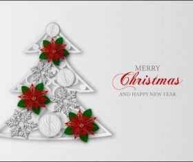 Christmas tree card vector on white background