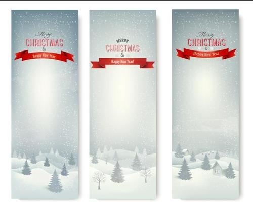 Christmas winter banners vector