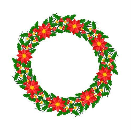 Christmas wreath vector with flowers decoration
