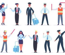 Civil Aviation Cartoon Character Illustration Vector