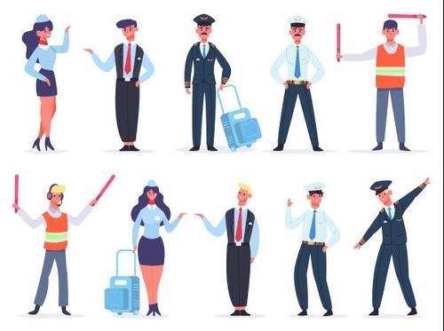 Civil Aviation Cartoon Character Illustration Vector
